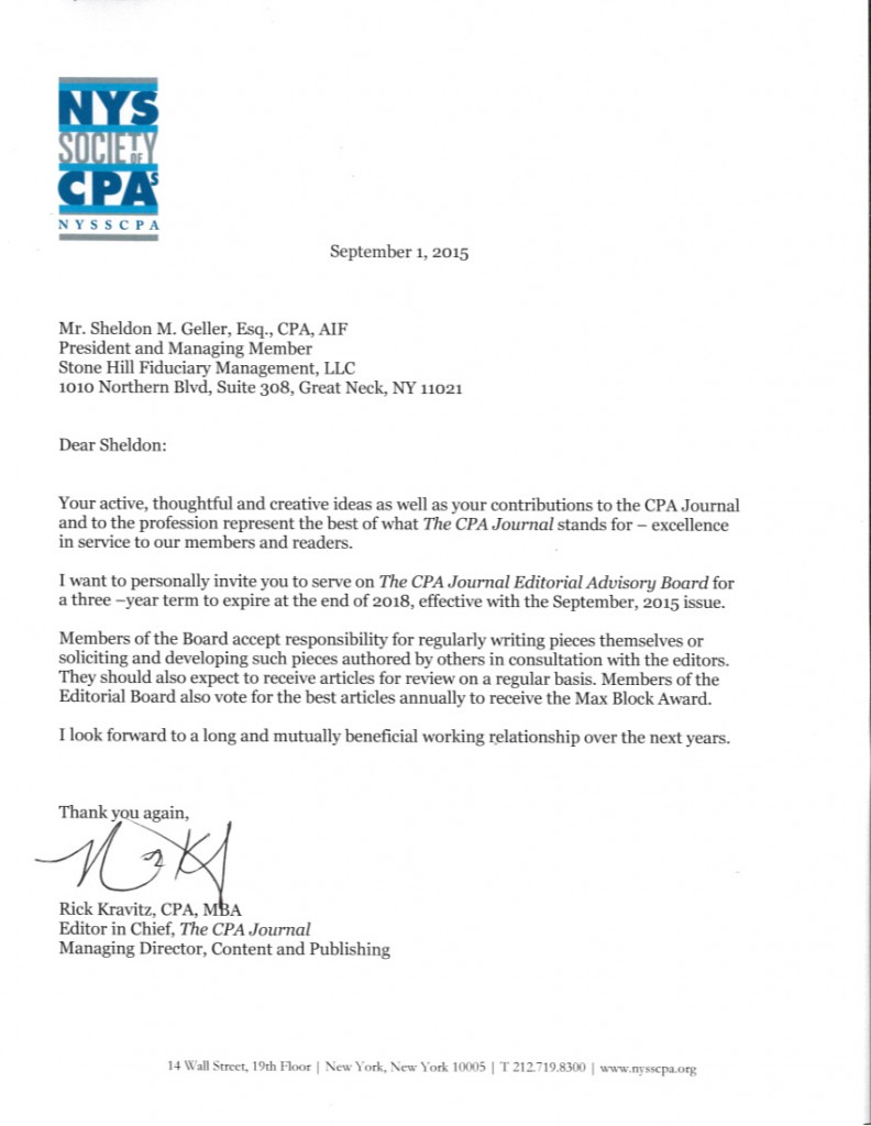 blog stone hill fiduciary management page  cpa journal editorial board