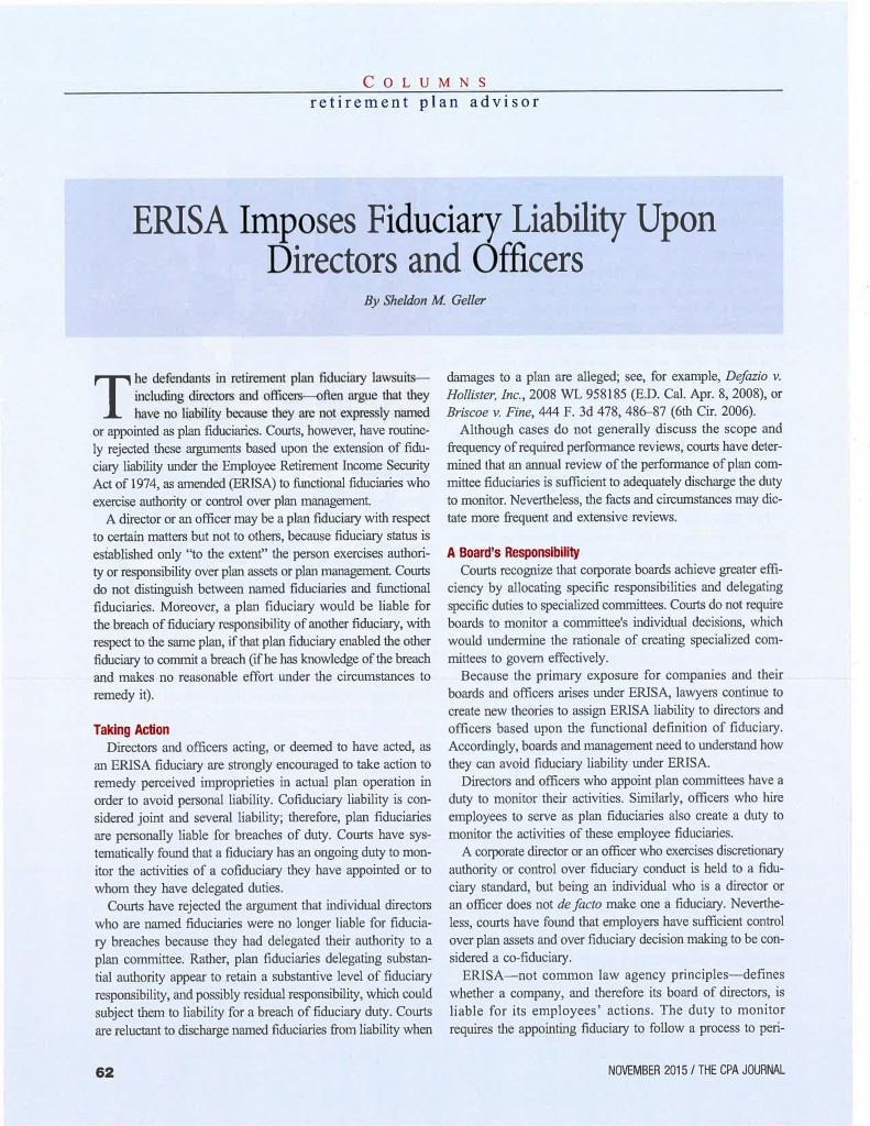 blog stone hill fiduciary management page  erisa imposes fiduciary liabiity upon directors and officers 2 1
